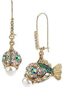 807854b3d Betsey Johnson Betsey Johnson Gold-Tone Embellished Fish Earrings ...