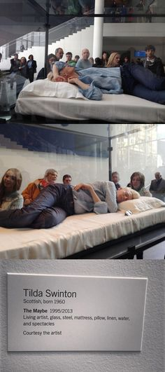 Tilda Swinton sleep in a glass box at MoMA The Museum of Modern Art