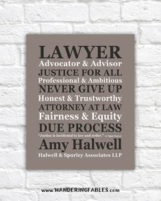 Lawyer Quotes, Gift for Lawyer. Partner, Law Firm. Gift for Coworker, Paralegal. LAWYER Personalized Gift