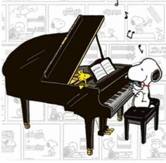 Snoopy Playing Grand Piano With Woodstock Sitting On Piano Listening Die Peanuts, Charlie Brown And Snoopy, Peanuts Snoopy, Motif Music, Charles Shultz, Sally Brown, Tv Movie, Peanuts Cartoon, Snoopy Cartoon