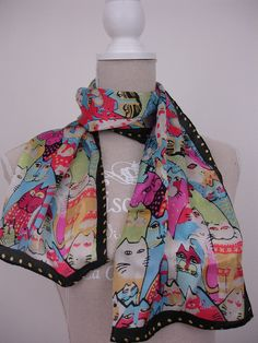 Seidenschals - Seidenschal Katzen hellblau rosa - ein Designerstück von textilkreativhof bei DaWanda