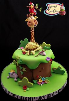 Southern Blue Celebrations: Jungle, Safari, and Zoo Cake Ideas & Inspirations Zoo Cake, Jungle Cake, Jungle Safari, Jungle Animals, Giraffe Cakes, Safari Cakes, Animal Cakes, Just Cakes, Novelty Cakes