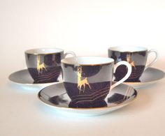 Vintage Noritake Nippon Black and Gold Demitasse Cups and Saucers Set of 3 Mid Century by HouseofLucien, $58.00
