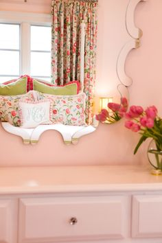 Curved Mirror in Traditional Classic Preppy Girl's Room