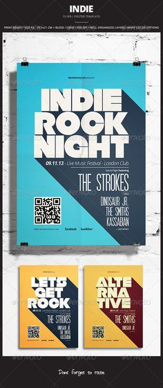 Buy Indie Flyer / Poster 12 by graphicovy on GraphicRiver. Indie Flyer / Poster 12 Promote any kind of music event. Gig, Concert, Festival, Party or weekly event in a music cl. Flyer Design Inspiration, Design Ideas, Event Poster Design, Graphic Design Posters, Event Posters, Flat Design Poster, Movie Posters, Protest Posters, Retro Posters