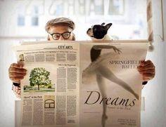 French bulldog & newspaper with ballerina funny