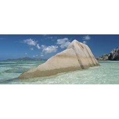 Boulders on the beach Anse Source dArgent La Digue Island Seychelles Canvas Art - Panoramic Images (30 x 13)