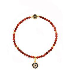 Melissa Odabash Gold & Coral Evil Eye Bracelet (£45) ❤ liked on Polyvore featuring jewelry, bracelets, evil eye charm, gold hinged bracelet, gold jewelry, gold hinged bangle and hinged bracelet