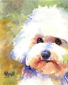 Bichon Frise Dog 8x10 Signed Art Print RJK Painting   eBay