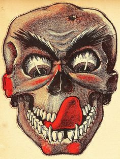 Skull decoration from vintage Weeny Witch Halloween party book. Retro Halloween, Halloween Poster, Halloween Books, Halloween Images, Creepy Halloween, Halloween Skull, Paper Halloween, Halloween Decorations, Halloween Costumes
