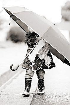 Little girl rainy day