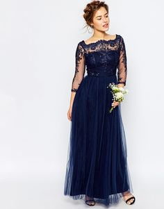 Image 4 ofChi Chi London Petite Bardot Lace Maxi Dress