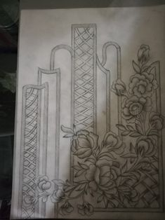 Border Embroidery Designs, Embroidery Suits Design, Folk Embroidery, Applique Designs, Embroidery Patterns, Aluminum Foil Art, Pencil Design, Free Hand Drawing, Antique Quilts
