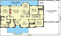 Plan 3 Bedroom Rambling Ranch Reverse the plan - like the kit layout/island House Plans One Story, Ranch House Plans, Craftsman House Plans, Best House Plans, Story House, House Floor Plans, One Level House Plans, Craftsman Ranch, The Plan