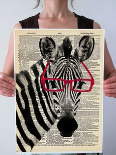 Smart ZEBRA Red or Black Glasses Art Mixed by PatricianPrints