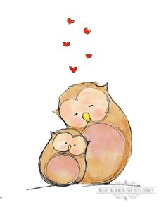 Childrens Illustration - Owl Love, 5x7 Print