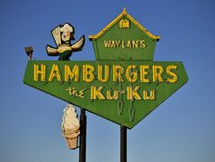 Hamburgers on Route 66 ~ Miami, Oklahoma, USA. Route 66 Oklahoma, Route 66 Trip, Historic Route 66, Travel Route, Miami Oklahoma, Diner Sign, Retro Signage, Vintage Neon Signs, Exterior Signage