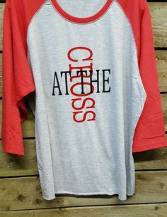 At The Cross Ladies Raglan Red Sleeve Shirt Christian