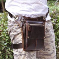 Men's Genuine Leather Waist Drop Leg Bag Messenger Shoulder Hip Bum Fanny Pack | eBay