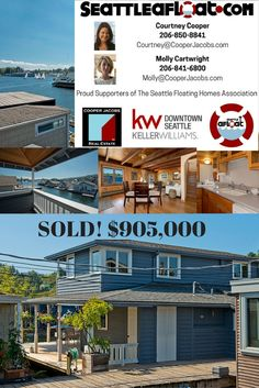 Seattle Houseboats: Seattle Floating Homes For Sale - Seattle Afloat: Seattle Houseboats & Floating Homes Seattle Waterfront, Downtown Seattle, Waterfront Homes, Seattle Homes For Sale, Portage Bay, Floating Homes, Lake Union, Houseboats, Selling Real Estate
