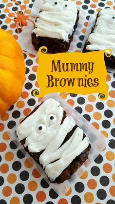 These fun Mummy Brownies are a great Halloween Party Snack Idea! They're quick & easy to make and would be perfect for kids to decorate themselves.