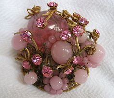 VINTAGE *MIRIAM HASKELL*PINK GLASS BEAD PIN~*BOOK PIECE*~MOONSTONE RHINESTONE