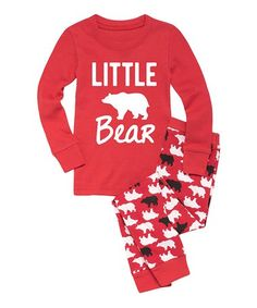 Red & White 'Little Bear' Pajama Set - Toddler & Kids by Nap Chat Family #zulily #zulilyfinds