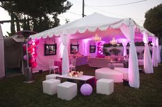 The tent rental and lighting transorms this backyard to a chic Modern and Whimsical 30th Birthday Party {Photo by Luminaire Images & Kenny Grill Photography}