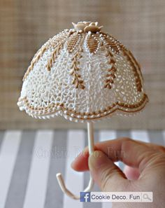 Cake Top - Royal icing string work Umbrella by Cookie Deco. Fun, posted on Cookie Connection