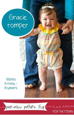 fairytale frocks and lollipops :: peek-a-boo pattern shop, gracie romper, girls, baby, toddler, infant, summer, spring, fall, play, shorts, jumper, sewing, instant, e-pattern, download, pdf, e-book, tutuorial, digipattern