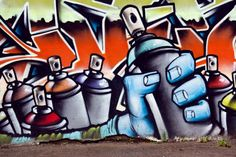 Graffiti wall spray can