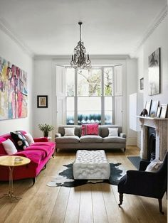 Pink and grey sofas