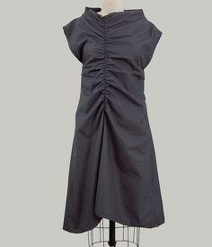 gathered line dress. matte finish cotton.  UNIFORM natural