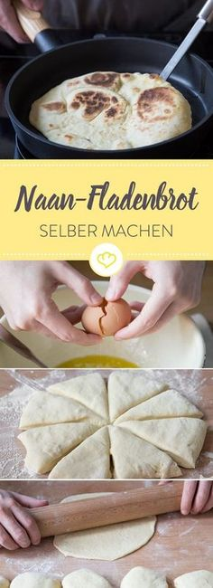 Köstliches Naan-Fladenbrot aus der Pfanne kannst du ganz einfach selber machen. Wie es geht, erfährst du hier Schritt für Schritt.