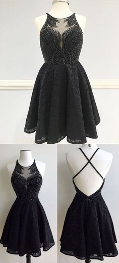 short black homecoming dress, black lace homecoming dress, 2017 short homecoming dress, little black dress, back to school