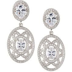 Fantasia By Deserio Elaborate Floral-Motif Oval CZ Crystal Double-Drop... ($189) ❤ liked on Polyvore featuring jewelry, earrings, no color, white crystal earrings, cz jewelry, 18k earrings, white jewelry and crystal jewelry