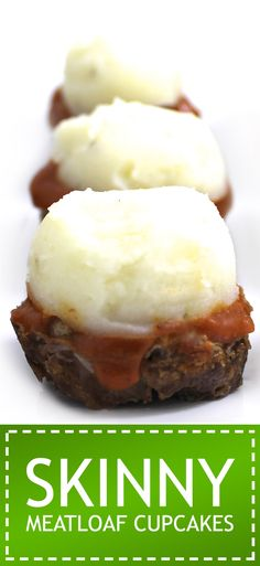 Skinny Meatloaf Cupcakes. Adorable, fantastic and topped with skinny mashed potatoes. Each cupcake has 154 calories, 3g fat and 4 Weight Watchers POINTS PLUS. http://www.skinnykitchen.com/recipes/skinny-meatloaf-cupcakes/