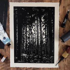 Hand-carved block print by Lauren Crowe Linoprint, Meeting Place, Printmaking, Hand Carved, Carving, Tools Uk, Fine Art, Detail, Patience