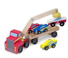 cool Melissa & Doug Magnetic Car Loader Wooden Toy Set With 4 Cars and 1 Semi-Trailer Truck