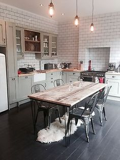 Vintage Industrial Hairpin Leg Rustic Reclaimed Plank Top Dining Table UK Made in Home, Furniture & DIY, Furniture, Tables | eBay