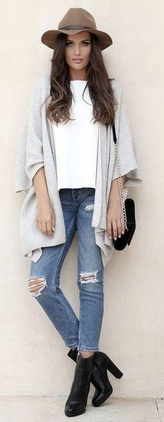 #spring #fashion #outfitideas |Grey Cardi + Basics |Postolatieva                                                                             Source