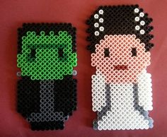 Halloween Frankenstein's monster and his Bride perler beads by Wintermoon Crafts Hama Beads, Perler Bead Art, Fuse Beads, Pearler Bead Patterns, Perler Patterns, Halloween Beads, Halloween Crafts, Perler Bead Templates, Nightmare Before Christmas
