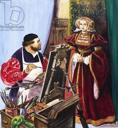 Holbein painting a portrait of Anne of Cleves, Jackson, Peter / Private Collection / © Look and Learn / Bridgeman Image Anne Of Cleves, Anne Boleyn, Asian History, British History, Adele, Marguerite De Navarre, Thomas Cranmer, Elizabeth Of York, Wives Of Henry Viii