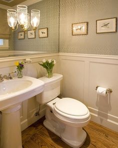For downstairs half bath off family room. love wood floor, pedestal sink, wainscoting, teal ans gold wall paper, mirror on wall with inset lighting! Elegant Powder bath - traditional - powder room - san francisco - by Alexandra Luhrs Interior Design Downstairs Bathroom, Bathroom Renos, Bathroom Ideas, Bath Ideas, Bathroom Designs, Bathroom No Window, Bathrooms Decor, White Bathrooms, Luxury Bathrooms