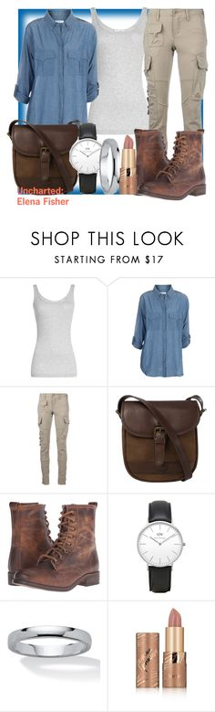 """Uncharted: Elena Fisher"" by geekyandnerdyfashion ❤ liked on Polyvore featuring Vince, Equipment, Ralph Lauren Blue Label, DUBARRY, Steve Madden, Daniel Wellington, Palm Beach Jewelry and tarte"