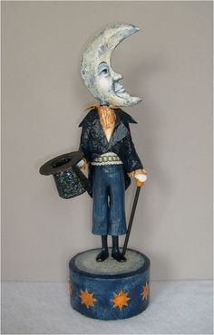 Mr. Moonlight, music box, paper mache figure published in Art Doll Quarterly magazine, by Maggie Anderson on #Etsy