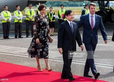 Danish Crown Prince Frederik (R) and Danish Crown Princess Mary (L) welcome Japan's Crown Prince Nahurito (C) during a welcoming ceremony in Copenhagen Airport June 15, 2017. Japan's Crown Prince is on a 6-days visit to Denmark / AFP PHOTO / Scanpix Denmark AND Scanpix / Martin Sylvest / Denmark OUT        (Photo credit should read MARTIN SYLVEST/AFP/Getty Images)