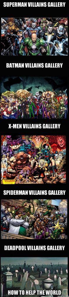 Deadpool elimates the villain problem Marvel Funny, Marvel Memes, Marvel Dc Comics, Funny Comics, Marvel Avengers, Funny Batman, Batman Batman, Deadpool, Comic Book Characters