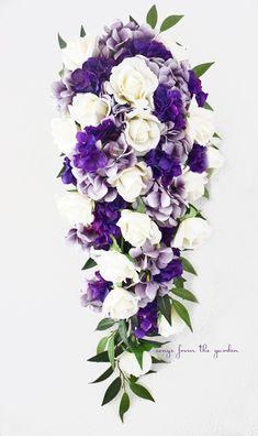 Cascade Bridal Bouquet Real Touch White Roses Lavender Purple Hydrangea - Tear Drop Bouquet
