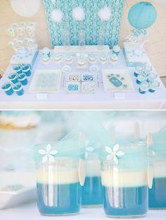 aqua + white dessert table